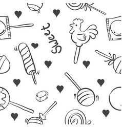 Collection candy on white background doodles vector