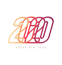 colorful happy new year 2020 text design vector image