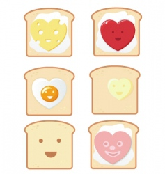 Comic toast icons vector