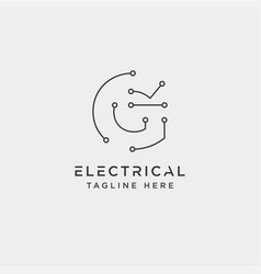 Connect or electrical g logo design icon element vector