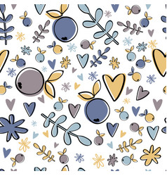 Cute berry seamless pattern pastel background vector