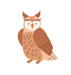 Cute brown owl sitting with folded wings isolated vector