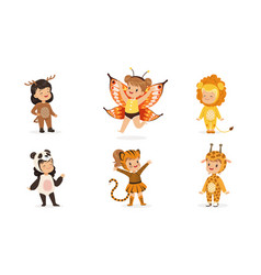 cute children in carnival costumes animals and vector image