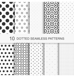 Dotted patterns Seamless collection vector