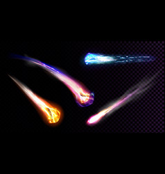 Falling comets asteroids or meteors with flame vector