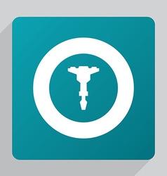 Flat jackhammer icon vector