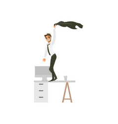 flat office worker man dancing at table vector image