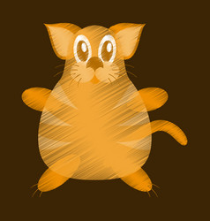 Flat shading style icon toy cat vector