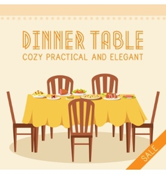 Flat vintage dinner table with many food vector
