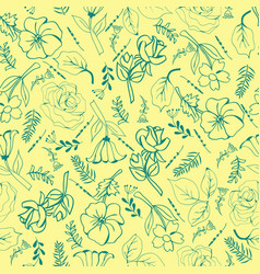 flowers hand-drawing collection green flowers and vector image