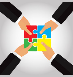 folded puzzles in the hands 4 hands vector image
