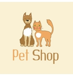 Funny cat and dog are best friends sign for pet vector
