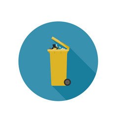 garbage can flat icon vector image