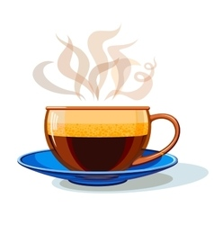 Glass cup with hot coffee vector image