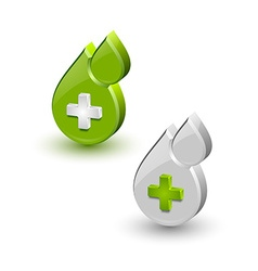 Green blood medical icons vector
