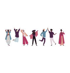group young happy people standing together and vector image
