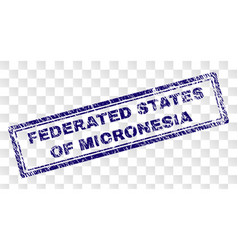 Grunge federated states micronesia rectangle vector