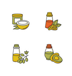 Hair oils rgb color icons set coconut natural vector