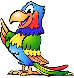 Hand-drawn an happy colorful parrot vector