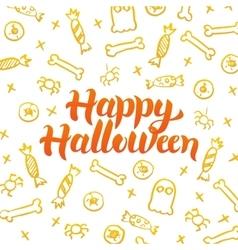 Happy Halloween Gold Postcard vector image