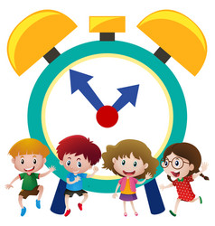 Happy kids and big alarm clock vector