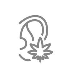 Human ear with marijuana leaf line icon cannabis vector