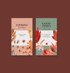 Instagram template with autumn daily concept vector