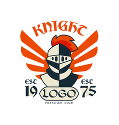 Knight logo premium club esc 1975 vintage badge vector