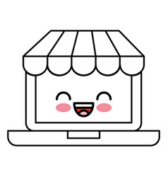 Laptop computer with ecommerce app kawaii vector