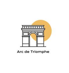 Line art arc de triomphe landmark icon of paris vector