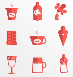 Liquid for drinking and dessert flat icons vector