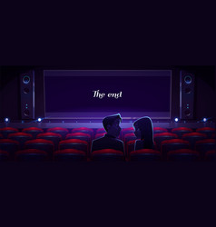 Loving couple in movie theater man and woman love vector