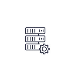 Mainframe server linear icon on white vector