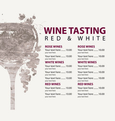 Menu for wine tasting patterned glass and vector