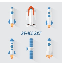 Modern flat style set of space rockets vector image