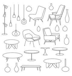 modern furniture and lighting black outline vector image