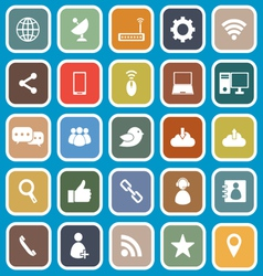Network flat icons on blue background vector