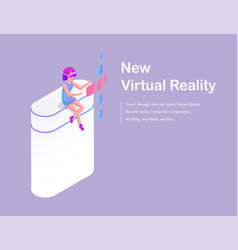 new virtual reality cartoon advertising banner vector image