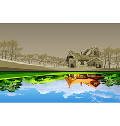 old dilapidated house reflected in the river vector image