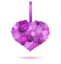 One isolated pink heart from color buttons eps10 vector
