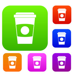 paper coffee cup set color collection vector image