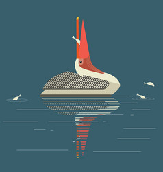 Pelican catches fish vector