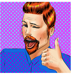 Pop art man with thumb up hand gesture vector