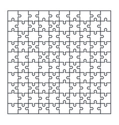 Puzzle jigsaw set of 100 pieces in vector