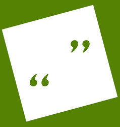 Quote sign white icon vector