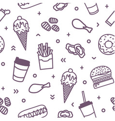 seamless pattern with delicious fast food meals vector image