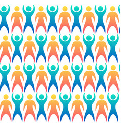 Seamless pattern with multicolored people vector
