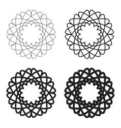 Set black circular linear icons emblems vector