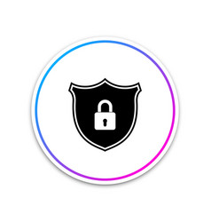 Shield security with lock icon isolated on white vector