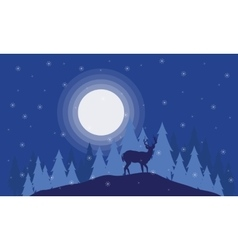 Silhouette of deer on the field Christmas scenery vector image vector image